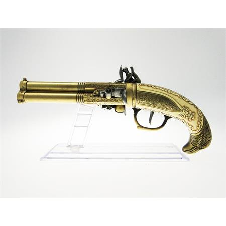 pistola-antica-a-tre-canne-in-metallo-con-incisioni-29-cm