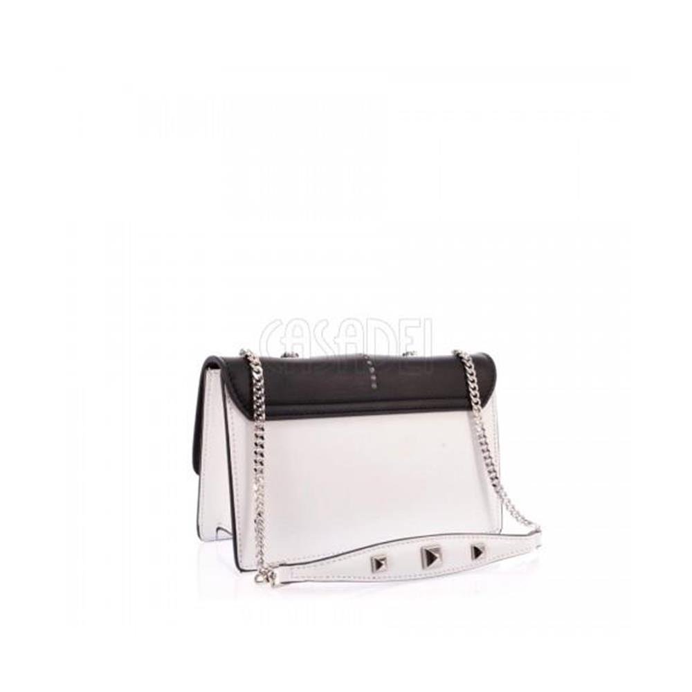 new products wholesale later Small Patrizia Pepe Leather Shoulder Bag 2V5920 - F1ZJ Black/White